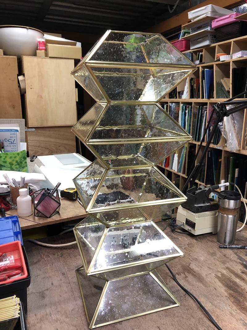 真鍮ケイムで作ったランプシェード